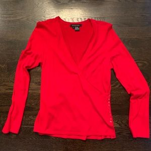 Etcetera Red Wrap Top. Size Large